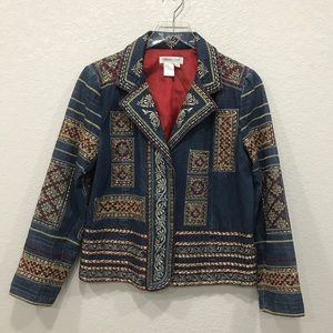 Coldwater Creek Embroidered Denim Jacket Petite S